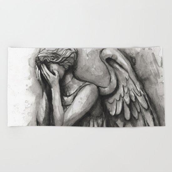 Weeping Angel Watercolor Doctor Who Art Beach Towel