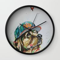 labrador Wall Clocks featuring LABRADOR by EDSON RAMOS
