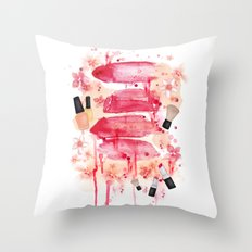 Bleeding lips Throw Pillow