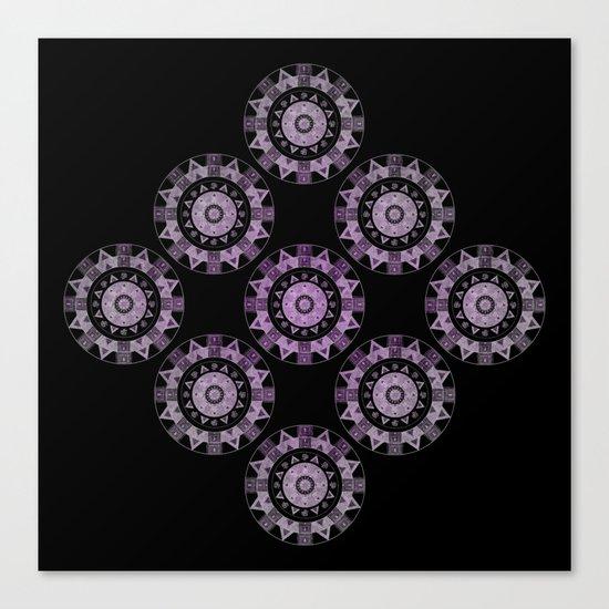 Ethnic mandalas in purple Canvas Print