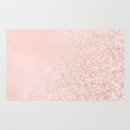 She Sparkles Rose Gold Pastel Pink Luxe Geometric Rug