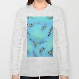 Turquoise with Gold Gemstone Print Long Sleeve T-shirt