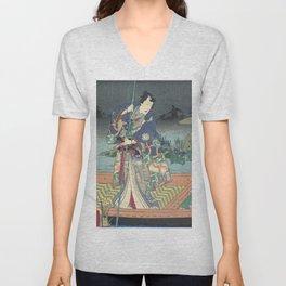 Prince Genji, Japanese Triptych, 1860 Unisex V-Neck