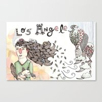 los angeles Canvas Prints featuring Los Angeles by Brooke Weeber
