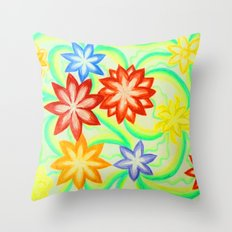 Waltz of the flowers (pencils drawing) Throw Pillow