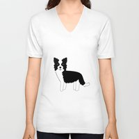 border collie V-neck T-shirts featuring Border Collie  by Heroinax