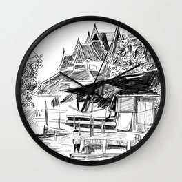 Temple and Home - A Scene on a Bangkok Klong Wall Clock