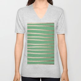 Abstract Drawn Stripes Gold Tropical Green Unisex V-Neck