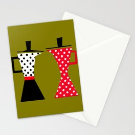 Ole coffee pot in olive green Stationery Cards