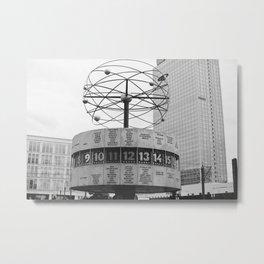 World clock Black and White Metal Print