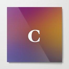 Monogram Letter C Initial Orange & Yellow Vaporwave Metal Print
