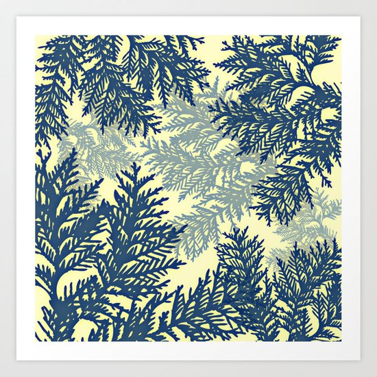Pine Branches: Blue & Cream Art Print