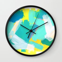 Be Kind, Be OK pastel color abstract painting mint green modern art acrylic mixed media Wall Clock