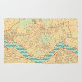 Seoul Map Retro Rug