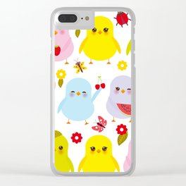 Kawaii colorful blue green orange pink yellow chick Clear iPhone Case