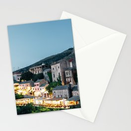 Night of Mostar old town Stationery Cards