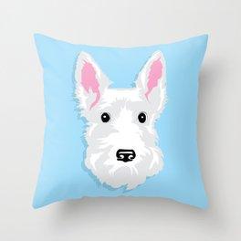 White Scottie Dog on Blue Background Throw Pillow