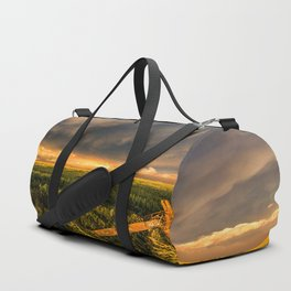 Breadbasket - Golden Light Illuminates Fence and Field in Kansas Duffle Bag