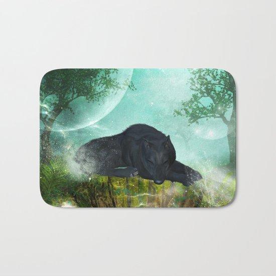 Awesome sleeping wolf Bath Mat
