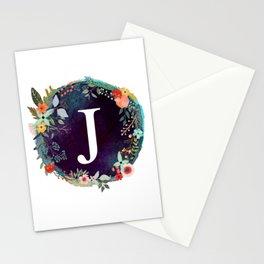 Personalized Monogram Initial Letter J Floral Wreath Artwork Stationery Cards