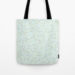 Baby Blue & Gold Polka Dots Tote Bag
