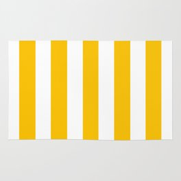 Golden poppy yellow - solid color - white vertical lines pattern Rug