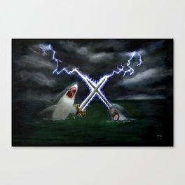 Shark vs. Narwhal  Canvas Print