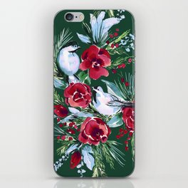 Winter Birds Dark Green iPhone Skin