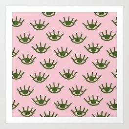 Green Eyes On Pink Background Art Print