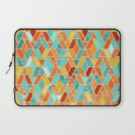 Tangerine & Turquoise Geometric Tile Pattern Laptop Sleeve