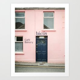 "Travel photography print ""Pastel pink bakery in Dingle Ireland"" - Blue and pink print door Art Print"