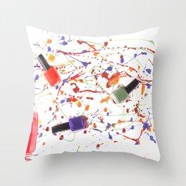 Nail Polish Paint Throw Pillow