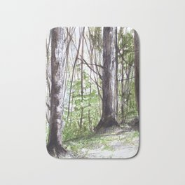 Woodland Trees in Vermont Illustration Nature Art Bath Mat