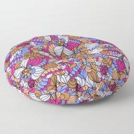 Rustic Swirly Flowers Floor Pillow