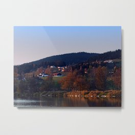 Indian summer sunset at the fishing lake III | waterscape photography Metal Print