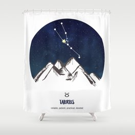 Astrology Taurus Zodiac Horoscope Constellation Star Sign Watercolor Poster Wall Art Shower Curtain