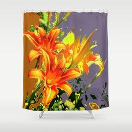 Serene Orange Daylilies Grey-Brown Abstract Shower Curtain