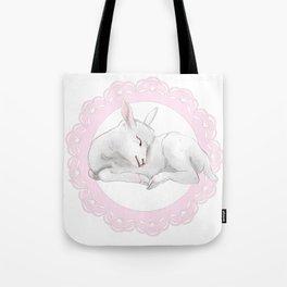 Sleeping Lamb in Pink Lace Wreath Tote Bag