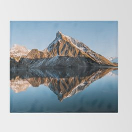 Calm Mountain Lake at Sunset - Landscape Photography Throw Blanket