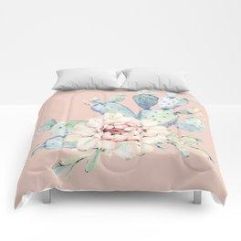 Sweet Pink Rose Desert Cactus Comforters