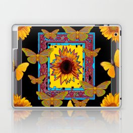 WESTERN BLACK & GREY BUTTERFLIES SUNFLOWERS Laptop & iPad Skin