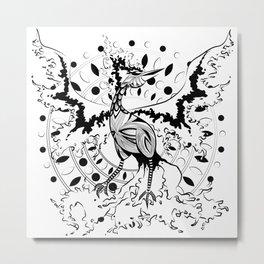 Fire Bird - Black Metal Print