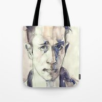 kerouac Tote Bags featuring Jack Kerouac by Germania Marquez