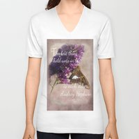 bible verse V-neck T-shirts featuring Amazing Grace - Verse by Anita Faye