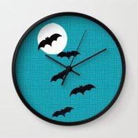 bats Wall Clocks featuring Bats by Jude's