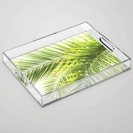 Palm leaves tropical illustration Acrylic Tray