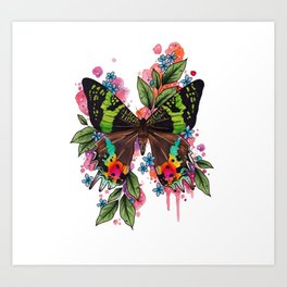 Neo Traditional Sunset Moth and flowers Art Print