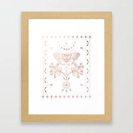 Magical Moth In Rose Gold Framed Art Print