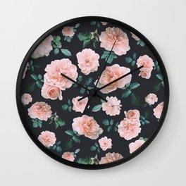 Light Pink Roses Flower pattern Wall Clock