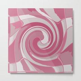 Spiral in Pink and White Metal Print